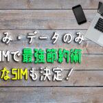SIMカードの電話のみとデータのみ☆目的別究極の節約方法【保存版】
